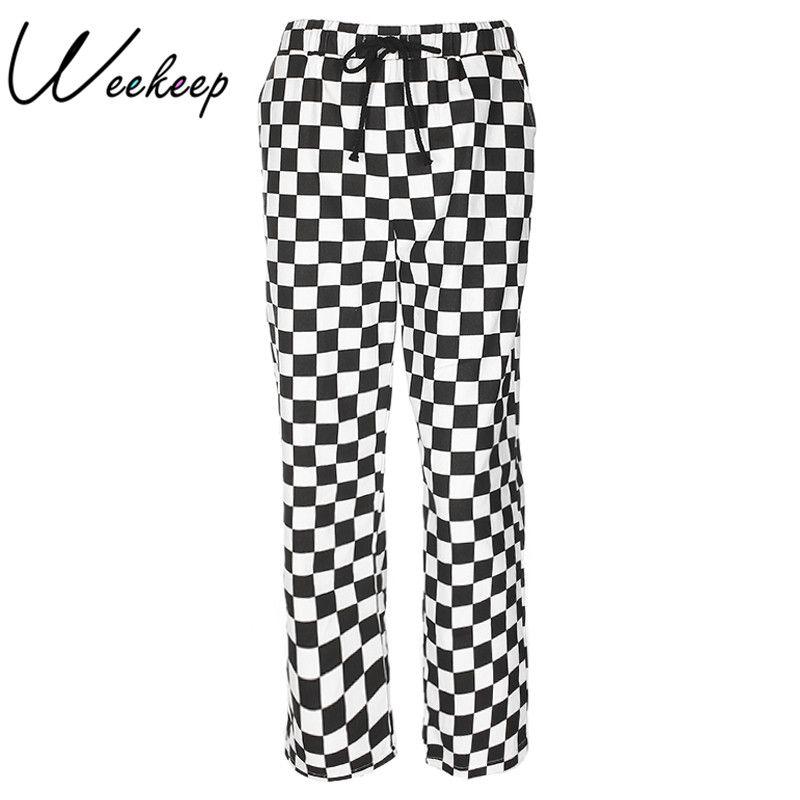 Weekeep Fashion Plaid Loose High Waist Pants Women Checkboard Straight Sweat Pants Womens Streetwear Trousers <font><b>Pantalon</b></font> Femme