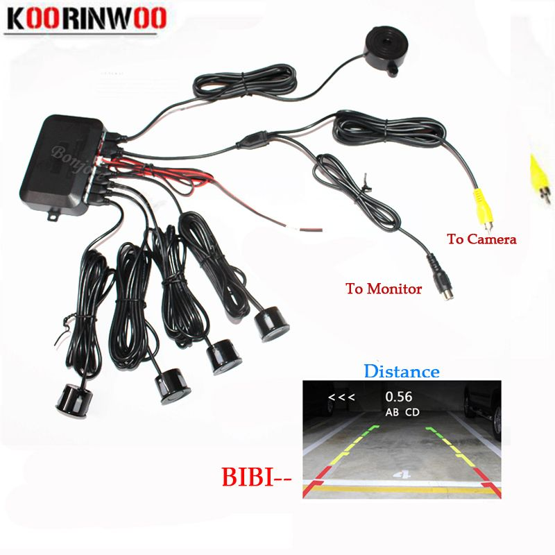 Koorinwoo Dual Core CPU Video System Car Parking Sensor <font><b>Reverse</b></font> Backup Radar 4 Alarm Beep Show distance on Display Sensor
