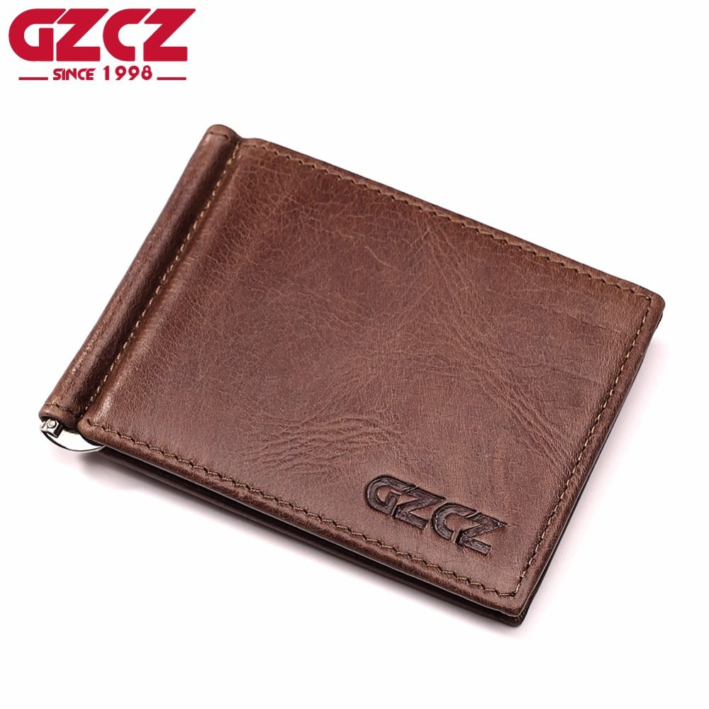 GZCZ High Quality Genuine Leather Fashion Men Wallet Female Bifold Women Purse Male Money Clip Clamp For Money Case Cuzdan