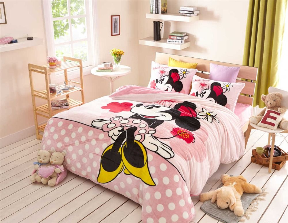 pink sweet minnie mouse comforter set 3/4/5 pcs flannel smooth fabric soft bed sheet set 3d beddings pillow cover for girl kids