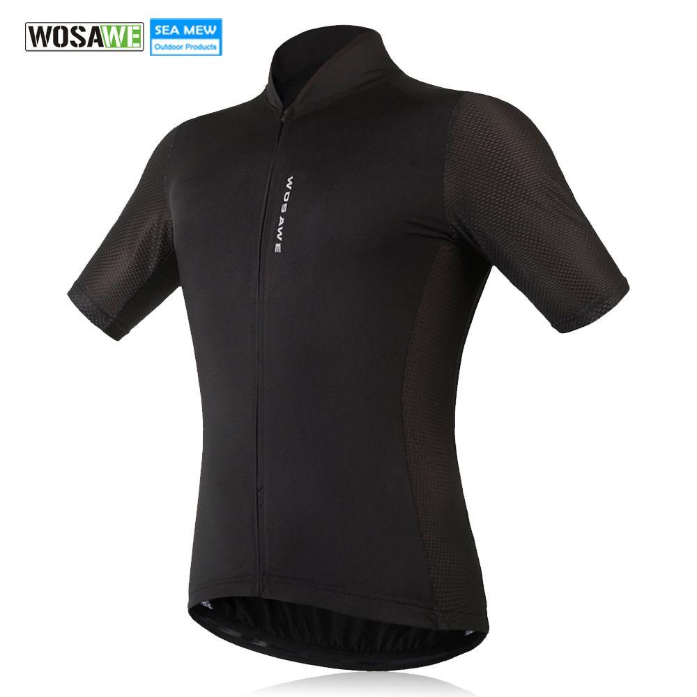 WOSAWE Nouveau Hommes de Cyclisme Jersey Confortable Vélo manivelle à chevilles Noir Blanc À Séchage Rapide tenue de sport courtes manches Cyclisme Vêtements
