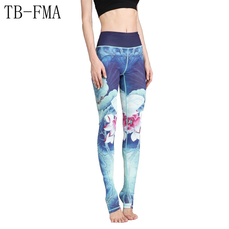 Floral Printed Yoga Pants Women High Waist Fitness Leggings Push Hip Athletic Sport Leggings Running Tights Women Widen Waist