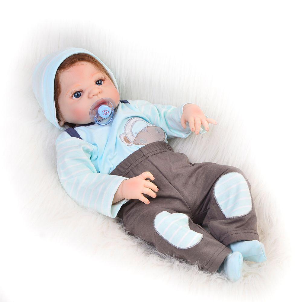 Fashion 23 inch Reborn Baby Dolls Full Body Silicone Vinyl Baby Dolls Lifelike Boy Model Can Bathe kids Xmas Gifts New Arrival