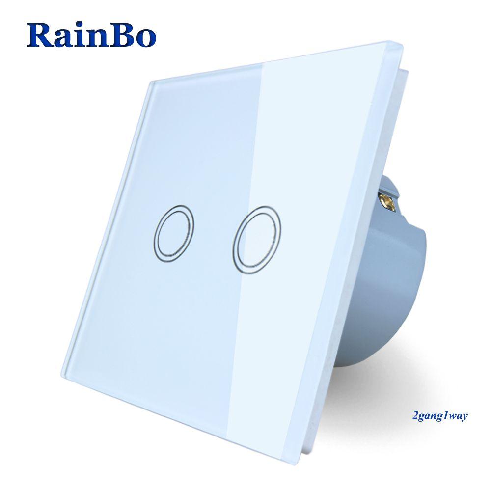 RainBo Brand New Crystal Glass Panel wall switch EU Standard 110~250V Touch Switch Screen Wall Light Switch 2gang1way A1921XW/B
