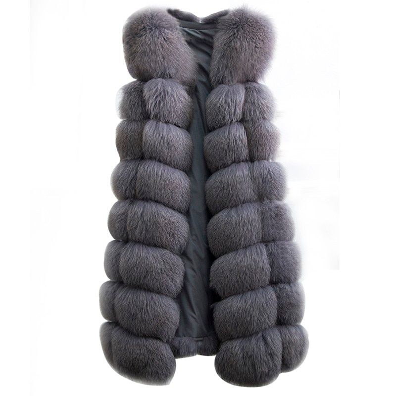2018 O-neck Genuine Leather Hot Sale 90cm Real Fox Fur Vest Natural Whole Coat Women Winter Sleeveless Design Plus Size