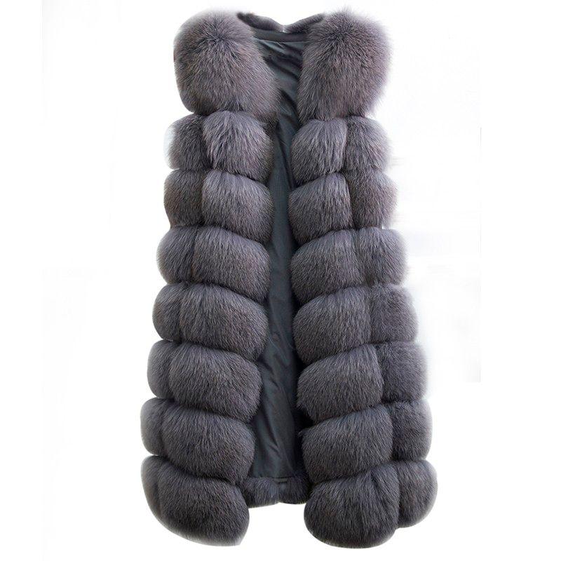 2018 Real Fox Fur Vest Coat 90cm Women Light Blue Fox Genuine Fur Vest Warm Feminino OuterweaNew Waistcoatsr Natural