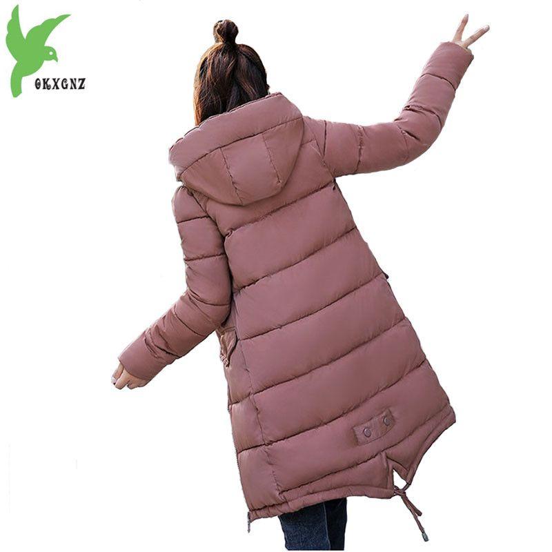 Students Cotton-padded Jacket Winter Parkas 2018 New Women Hooded Coat Plus size Thick Warm Top Slim Girl Long Parkas OKXGNZ2001