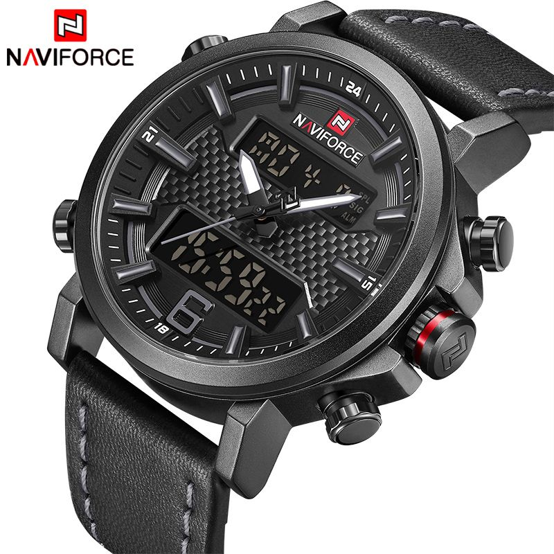 2018 NAVIFORCE New Men's Fashion Sport Watch Men Leather Waterproof Quartz Watches Male Date LED <font><b>Analog</b></font> Clock Relogio Masculino