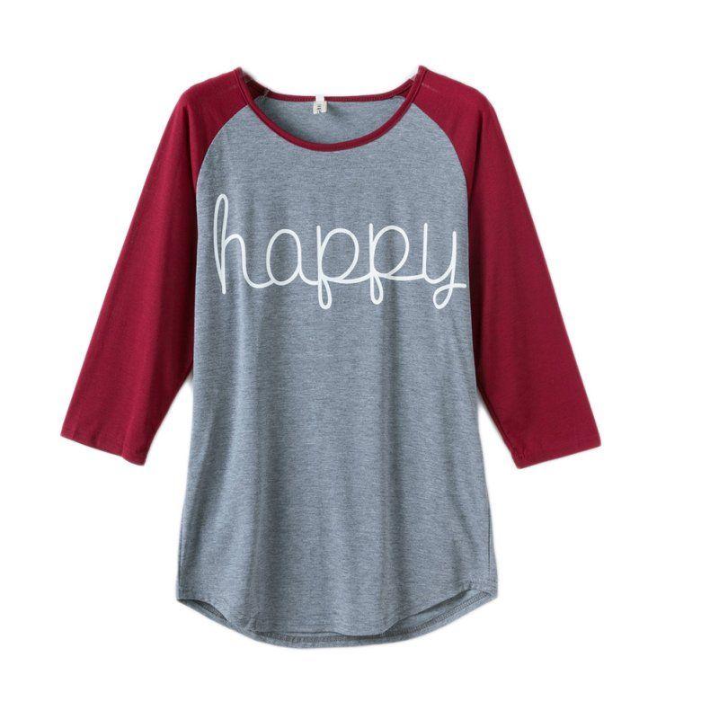 Для женщин верхняя одежда на сезон весна-осень с длинным рукавом О-образным вырезом леди Футболка Happy с принтом букв рубашка Для женщин Повс...