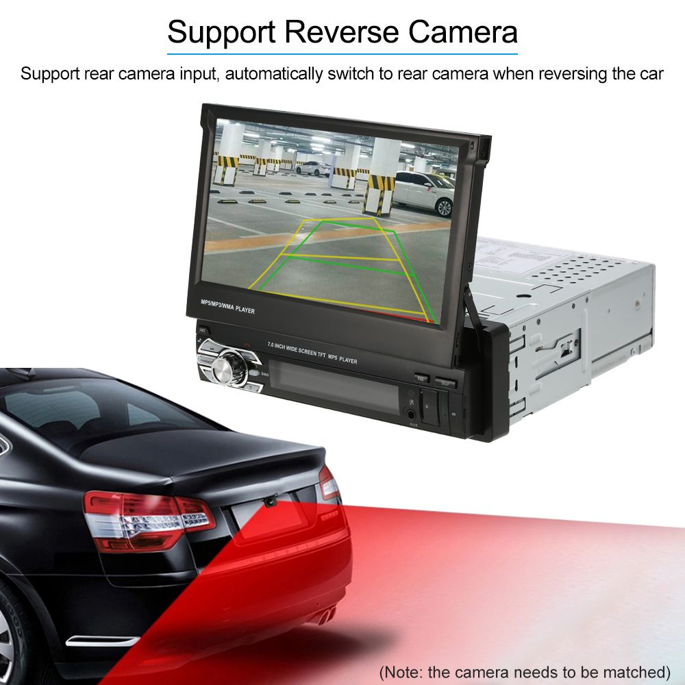 Universal <font><b>7inch</b></font> Retractable Autoradio Automagnitola 1 Din Car Radio Stereo Multimedia MP5 Player Bluetooth FM Remote Controller