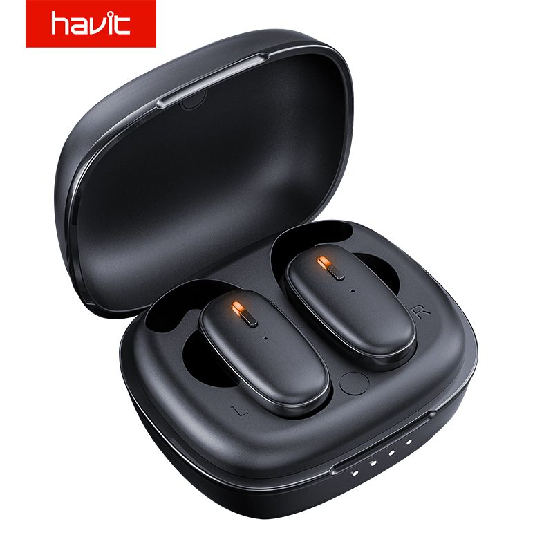 Havit I91 TWS Bluetooth Earphone V5.0 Support for Linking Two Mobile Phones Headset Sport Earbuds With Microphone Chargeable Box