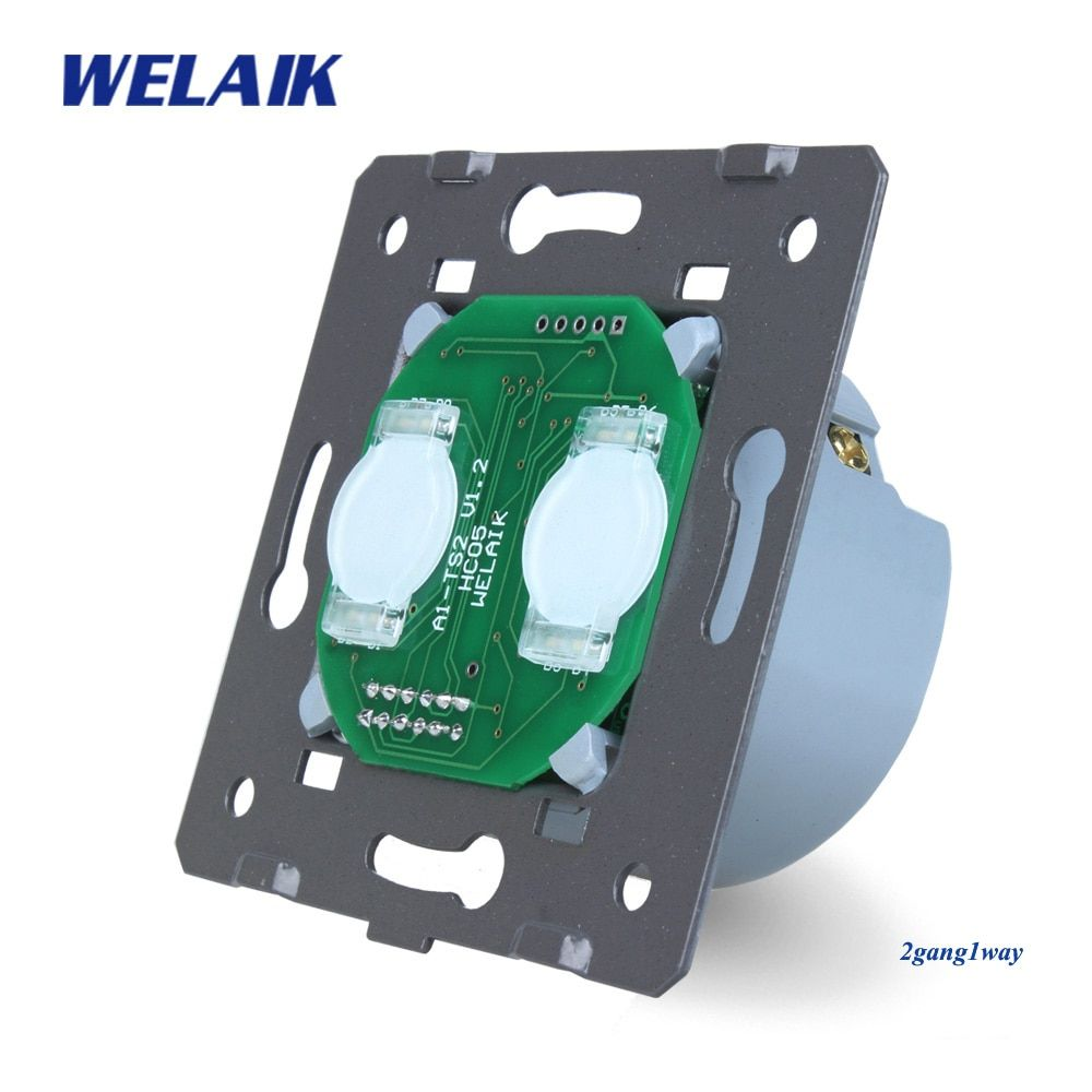 WELAIK  Switch White Wall Switch EU Touch Switch DIY Parts Screen Wall Light Switch 2gang1way AC110~250V A921