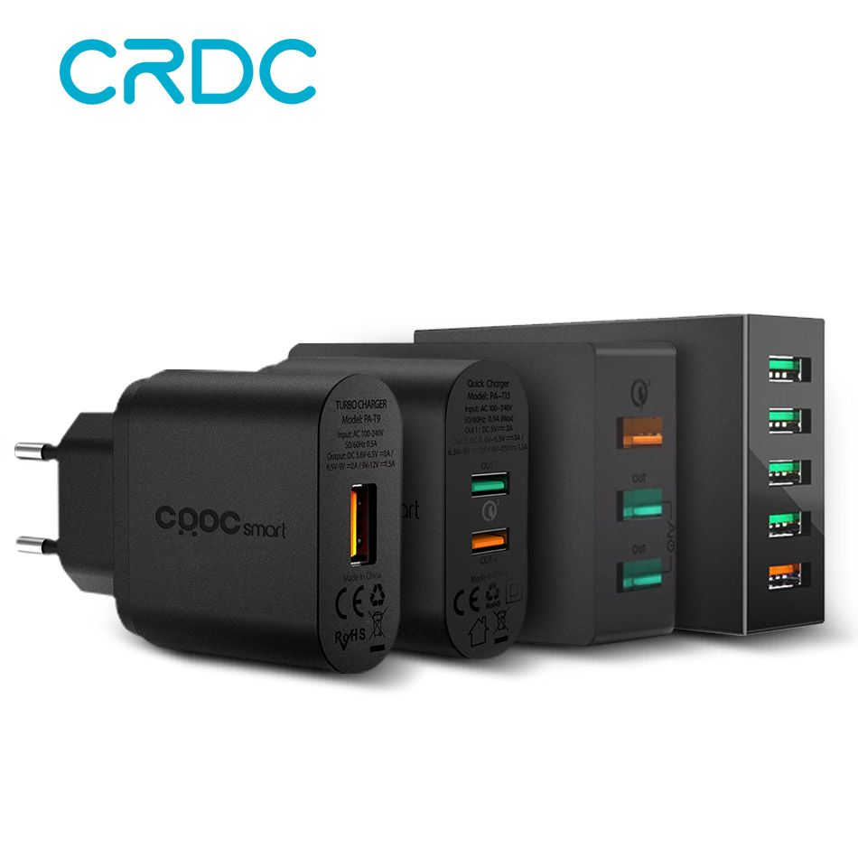 CRDC Quick Charge 3.0 USB Charger 5 Port Smart Mobile Phone Charger USB Travel Charger for iPhone Samsung Xiaomi Fast Charger