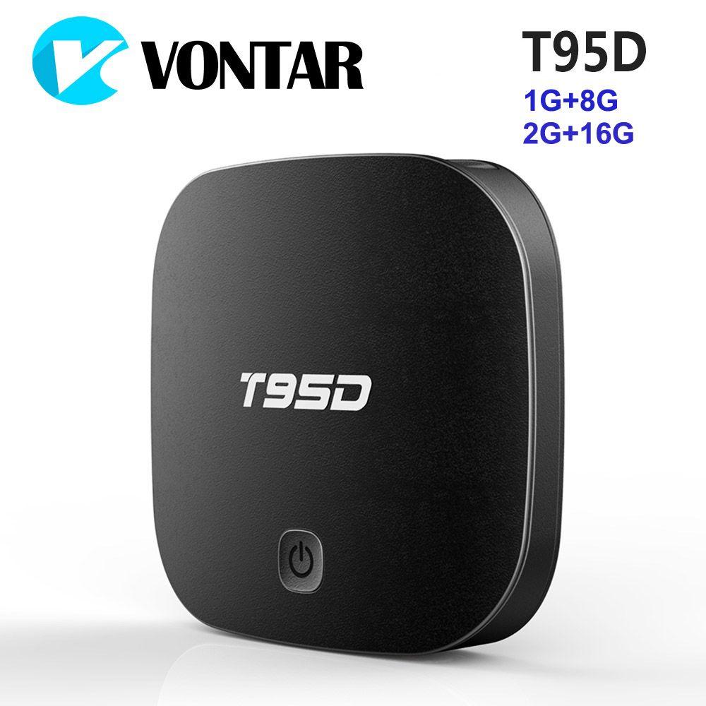 Vontar t95d 1 г 8 г Android ТВ Box Rockchip rk3229 4 ядра Android 6.0 2 г 16 г 2.4 ГГц wi-Fi HD Умные телевизоры media player