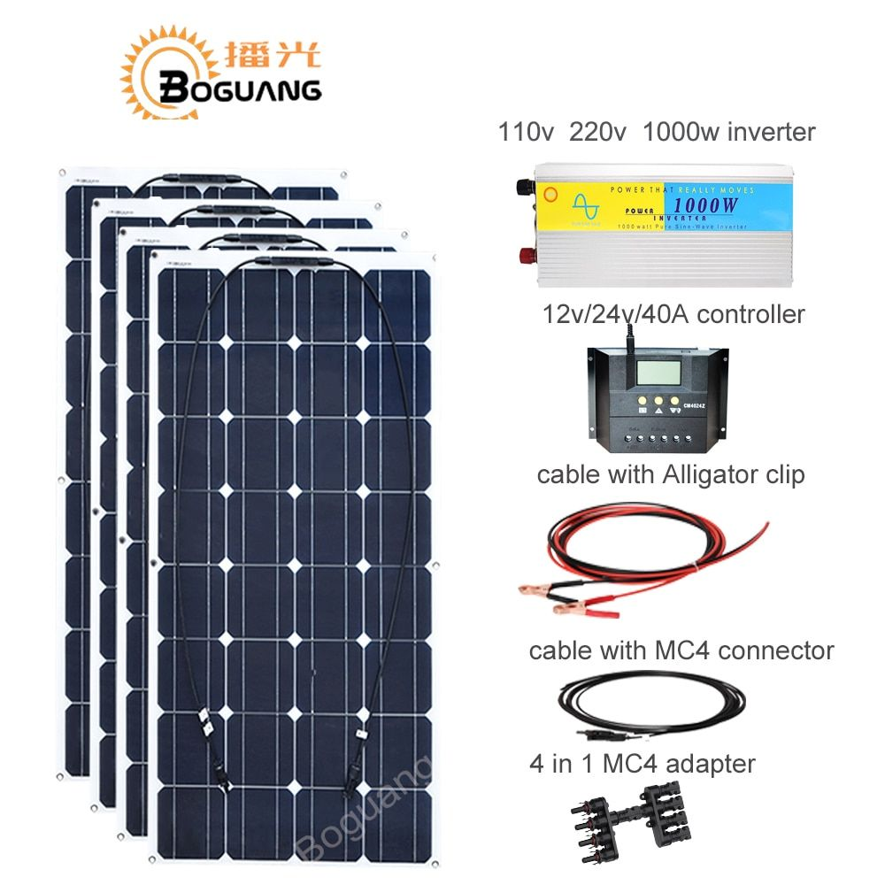 Boguang 400w solar DIY kit system 100w solar panel cell 110v 220v 1000w inverter 40A controller cable MC4 connector 12v battery