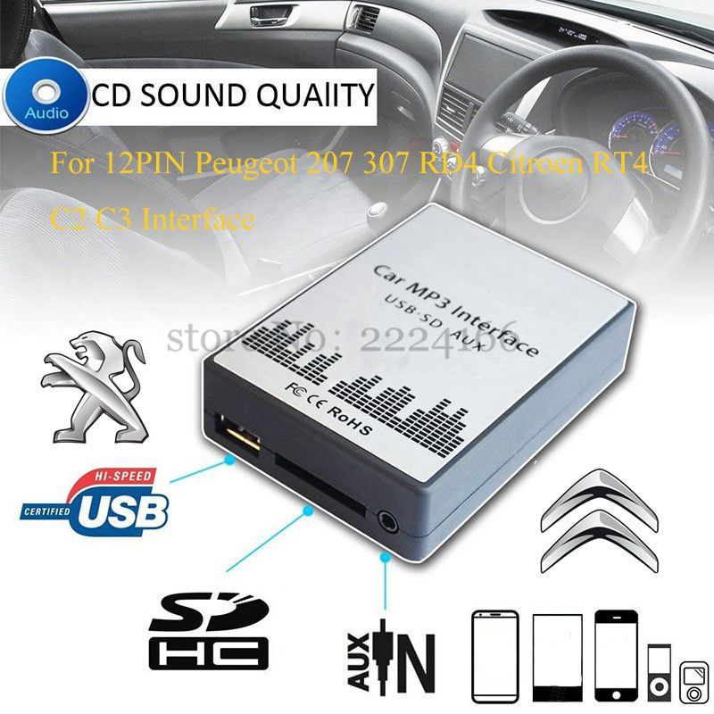 USB SD AUX car MP3 music player Adapters CD machine change For Peugeot 207 307 607 807 RD4 Citroen RT4 C2 C3 C4 12PIN Interface