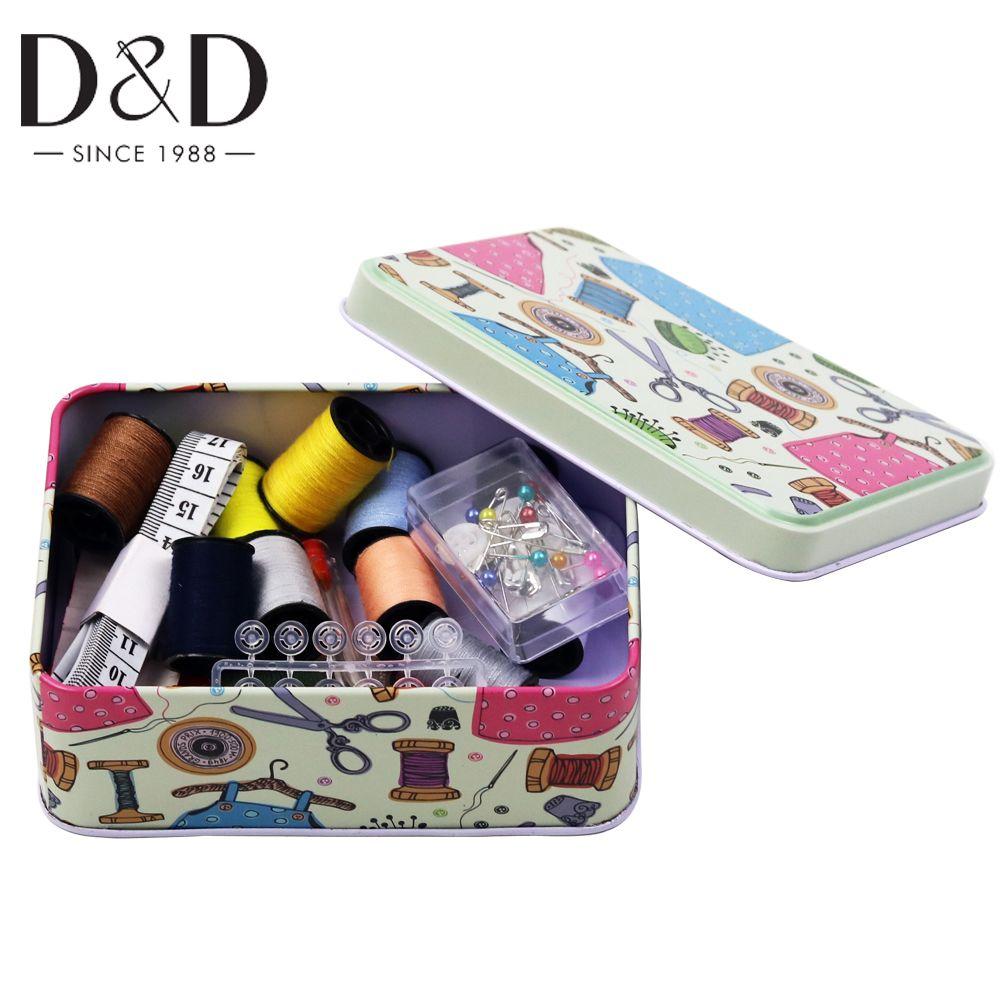 Portable Mini voyage ménage boîte à coudre ensemble Kit de couture aiguille fil ciseaux sacs de rangement articles divers organisateur maison outils