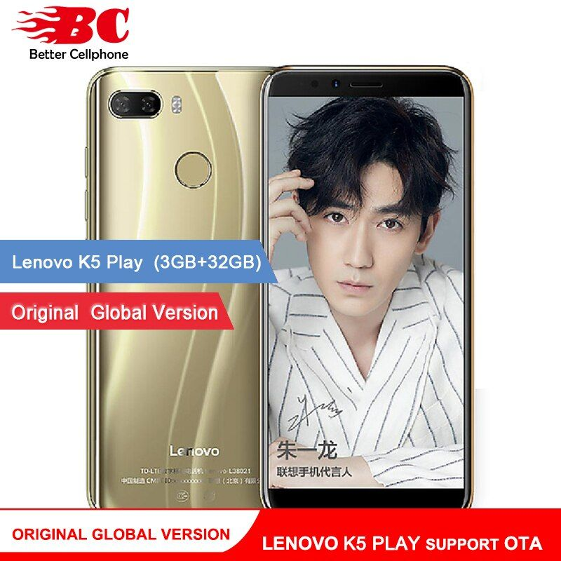 D'origine Mondiale Lenovo K5 Jouer Téléphone Android 8.0 Snapdragon 430 MSM8937 Octa-Core 5.7 pouce D'empreintes Digitales Rear13.0MP 3 gb + 32 gb OTA