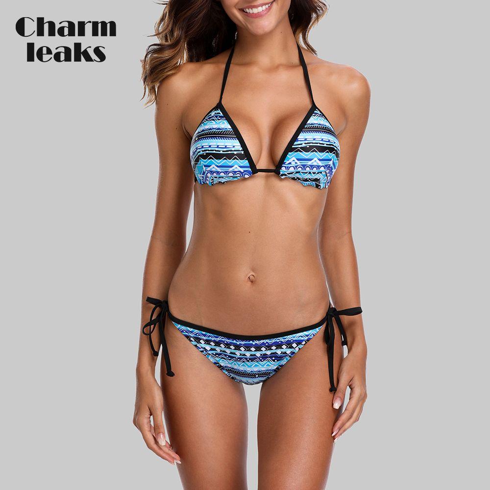 Ensemble de Bikini Sexy pour femmes charmsander maillot de bain imprimé Vintage Bandage latéral maillot de bain à bretelles maillot de bain rembourré Push Up vêtements de plage