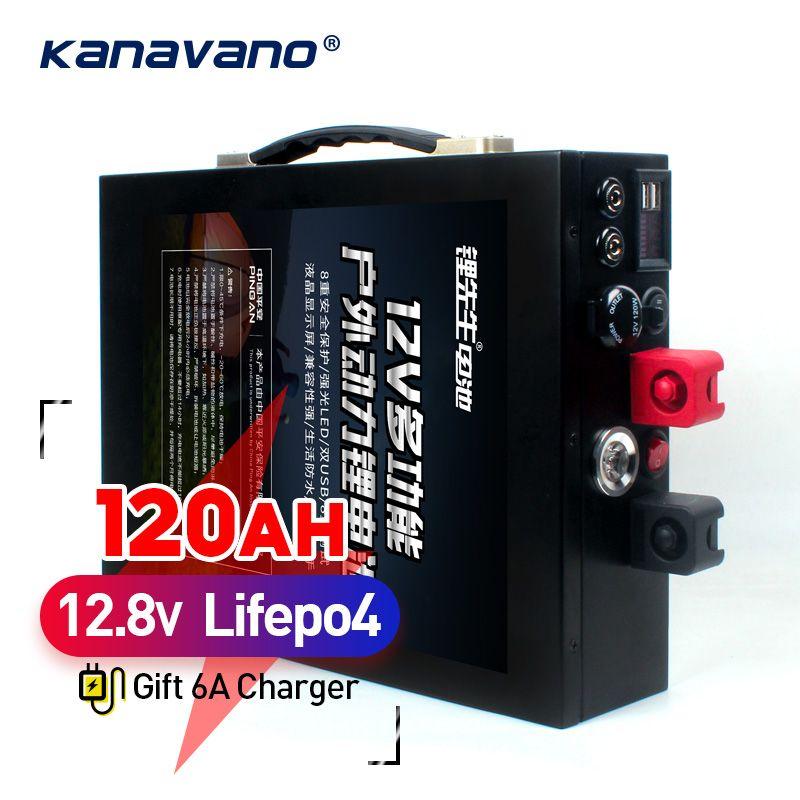 12 V 120AH LiFePo4 batterie große kapazität lithium-eisen phosphat batterie pack mit metall gehäuse LED beleuchtung zigarette leichter