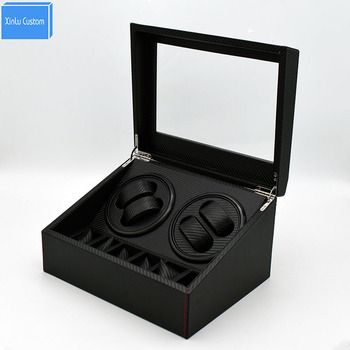 4+6 Automatic Rotation Leather Watch Winder Storage Display Case Box Black, Japan Mabuchi Motor Watch Display Box Xinlu Custom