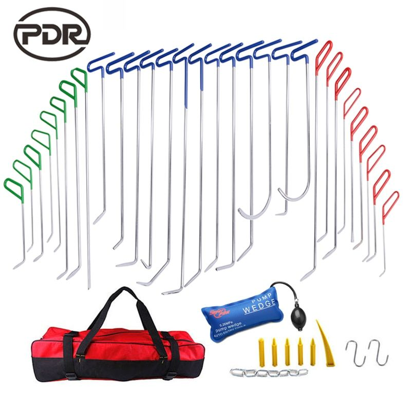 PDR Tools Push Rods Hooks Car Crowbar Dent Removal Paintless Dent Repair Tools PDR Kit Ferramentas Tool Bag Pump Wedge Tool Set