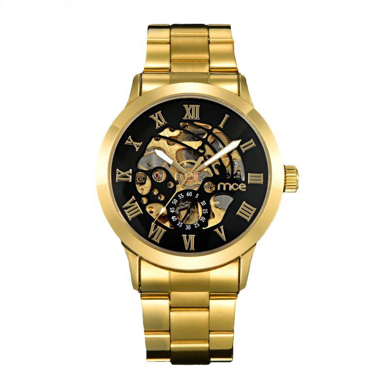 Luxury Gold Men's Watch Men Roman Numerals Stainless Steel Watch Black Automatic Mechanical Business Wristwatch Male Clock