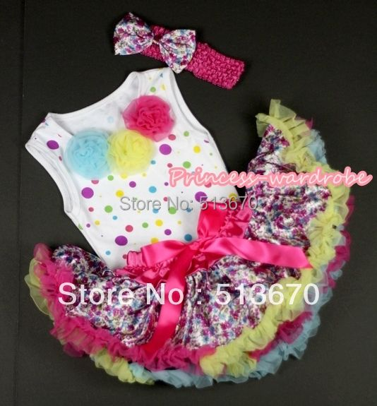 Baby Hot Pink Rainbow Floral Pettiskirt with Rainbow Rose Top Shirt and Hot Pink Headband Floral Satin Bow 2PC Set MANP014