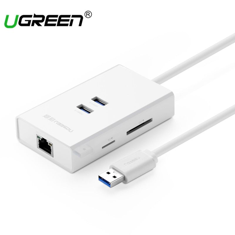 Ugreen 2 Ports USB 3.0 HUB with TF SD Card Reader USB Ethernet Adapter Lan RJ45 Gigabit Network Card for Window Mac Hubs Usb 3.0