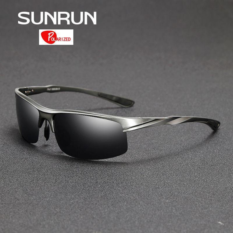 SUNRUN Men Driving Sunglasses Aluminum <font><b>Frame</b></font> Polarized Sunglasses Car Drivers Night Vision Goggles Anti-glare Sun Glasses P8213