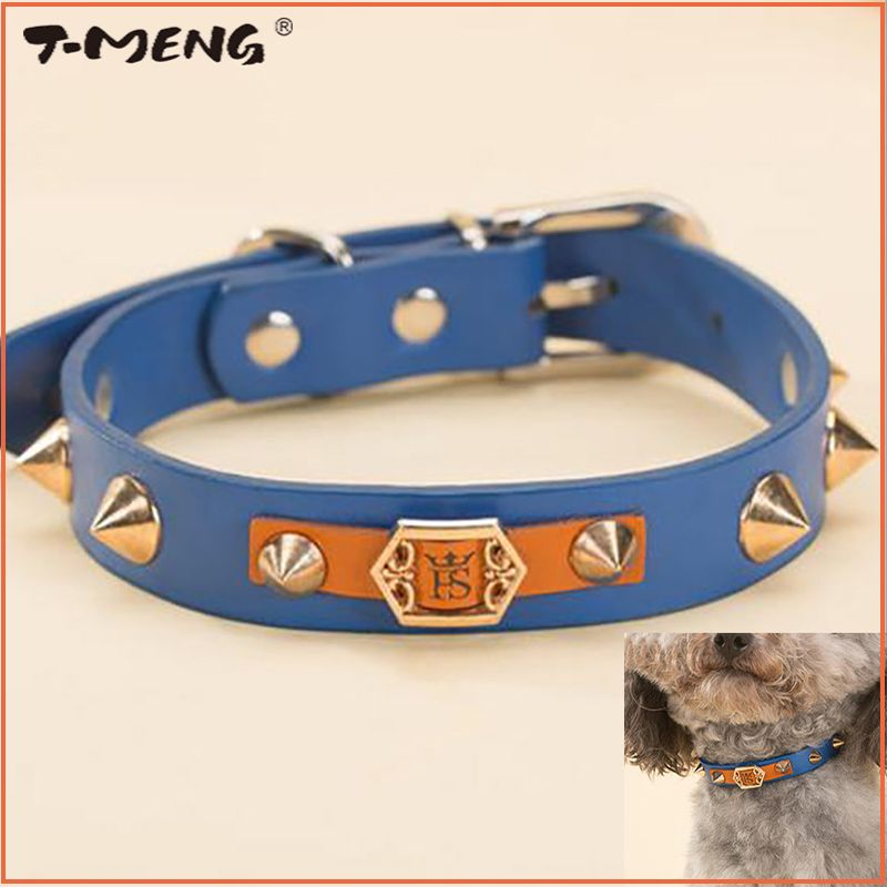 Beaux Rivets à pointes clouté collier de chien pour petits chiens chiot chats collier réglable en cuir Pu accessoires de ceinture pour animaux de compagnie