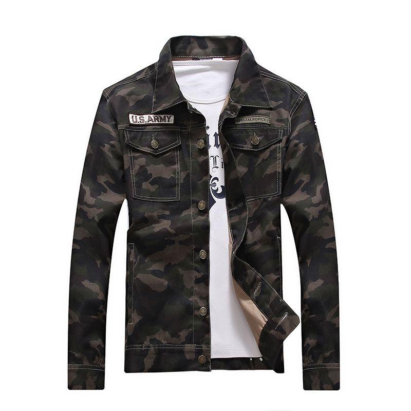 2018 nouvelle vente printemps hommes denim veste camouflage coupe-vent hommes Slim manteaux masculina mâle vêtements mode manteaux Plus 4XL