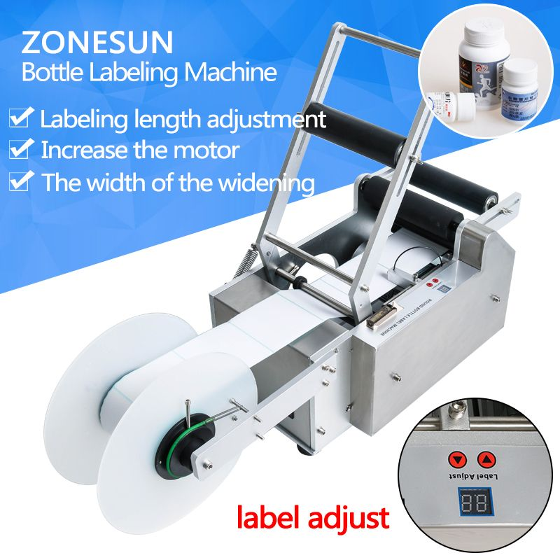 ZONESUN transparent sticker Semi-automatic Round Bottle Labeling Machine Labeler LT-50T,medicine bottle labeling machine