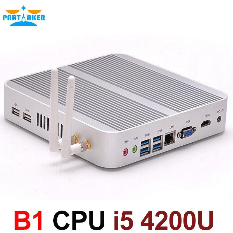 Boîtier TV sans ventilateur 4K HTPC Nuc ordinateur Mini PC I5 4200u avec Intel Core i5 4200U Max 16G RAM 512G SSD 1 to HDD Windows 10