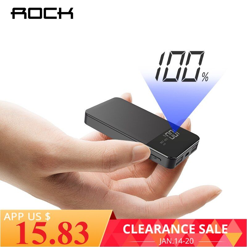 ROCK Mini 10000mAh Power Bank with Digital Display Dual USB External Battery PoverBank Powerbank for iphone XS Max Xiaomi