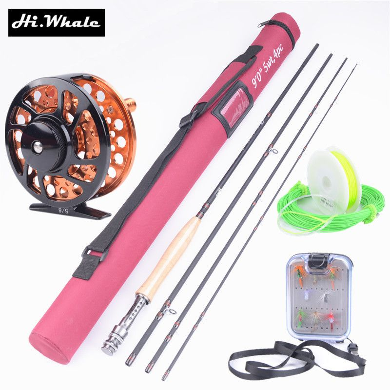 Hi.Whale New Carbon Fly Fishing combo Set 2.7 m 4 section fly rod line wt 5/6 fishing rod fishing supplies