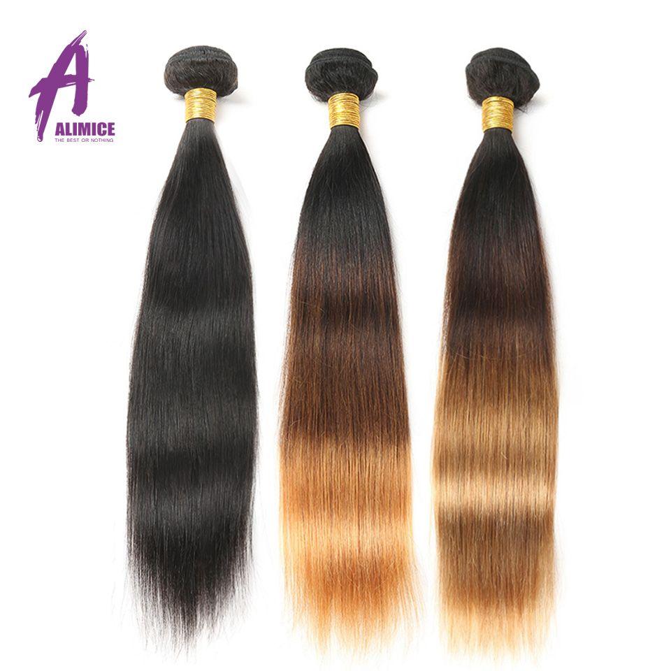 Alimice Ombre Cheveux Bundles 3 Tons Brésiliens Cheveux Raides Weave Bundles #1b/4/27 Non Remy Bundles extension de Cheveux humains