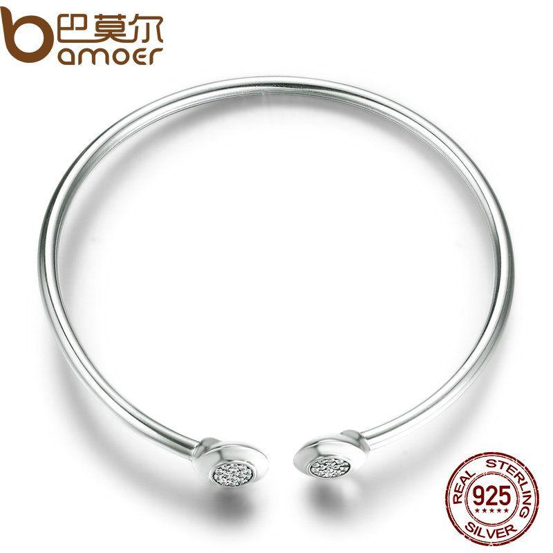#NO LOGO# Authentic 100% 925 Sterling Silver Chain Signature, Clear CZ Cuff Bangles Fashion Silver Jewelry PAS918