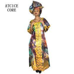 Afrika Gaun untuk Wanita Fashion Desain Baru Afrika Bazin Bordir Desain Gaun Panjang Syal Dua Buah Satu Set a077 #