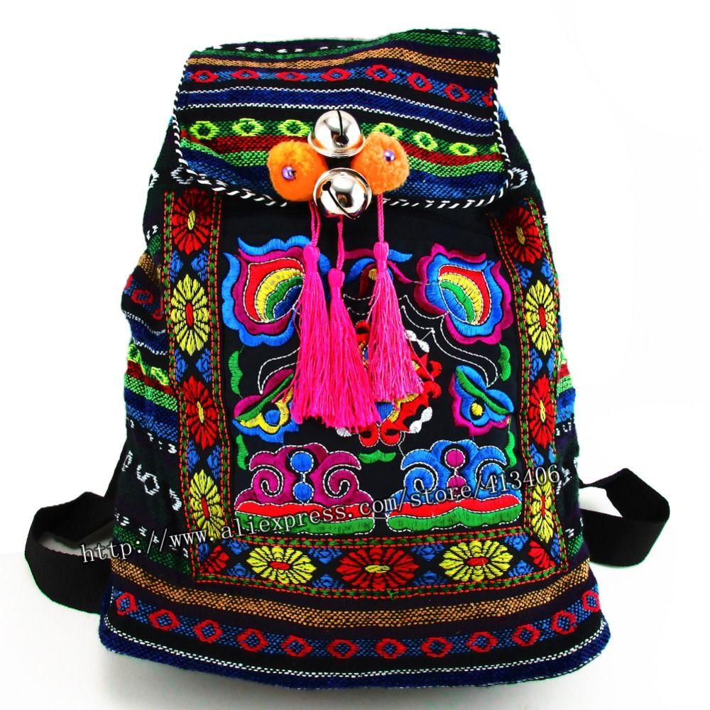 Tribal Vintage Hmong Thai indien ethnique broderie bohème Boho sac à dos Boho hippie sac ethnique, sac à dos L taille SYS-170R