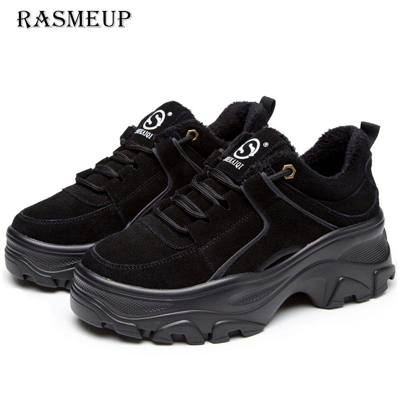 RASMEUP Genuine Leather Women's Platform Sneakers 2018 Winter Warm Women Chunky Sneaker Fashion Thick Sole Ladies Flat Dad Shoes