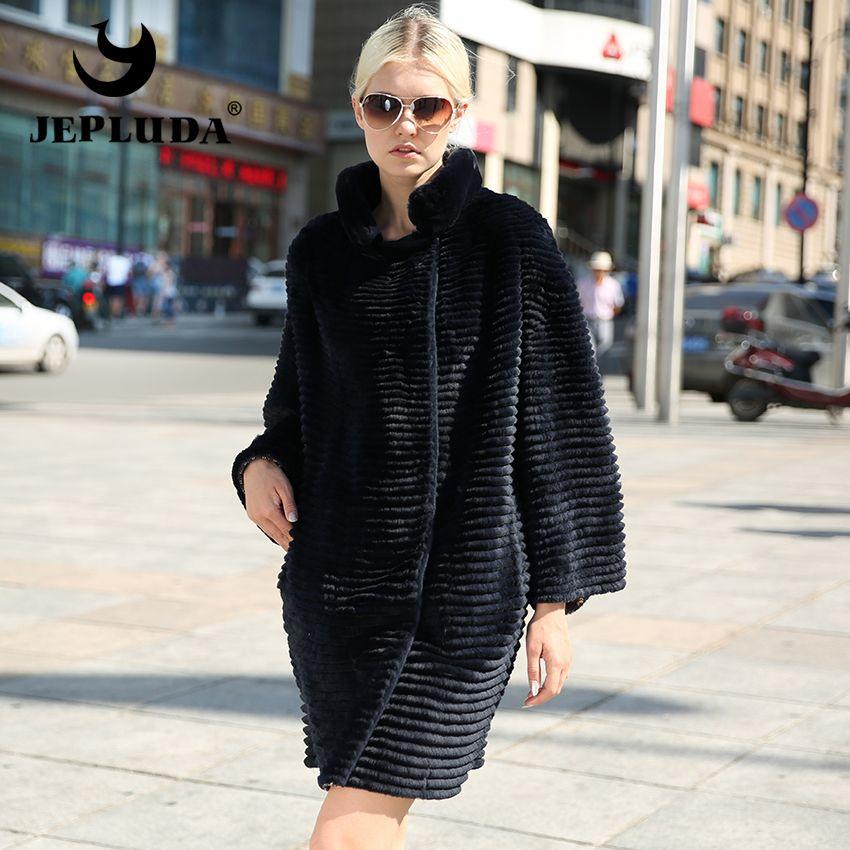 JEPLUDA Marke Elegante Frauen Echtpelz Mantel Neuesten Stoffe Zwei Seite zu Tragen Natürliche Rex Kaninchen Pelzmantel Weichen und warme Pelz Jacke