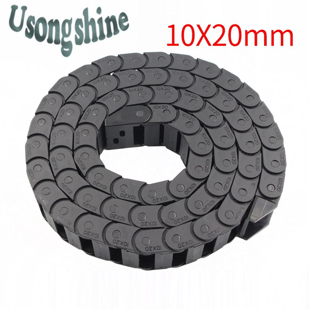 Transmission Chains 10 x 20mm L1000mm Cable Drag Chain Wire Carrier with end connectors for CNC Router Machine Tools 10*20mm