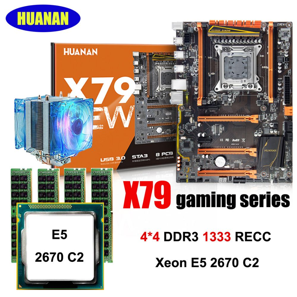 Building PC HUANAN Deluxe X79 motherboard CPU RAM set X79 LGA2011 motherboard Xeon E5 2670 C2 with cooler RAM 16G(4*4G) RECC