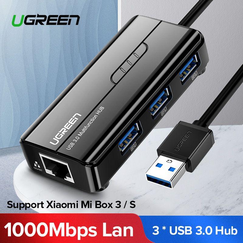 Ugreen USB Ethernet USB 3.0 2.0 à RJ45 HUB pour Xiao mi Box 3/S Android TV décodeur adaptateur Ethernet carte réseau USB Lan