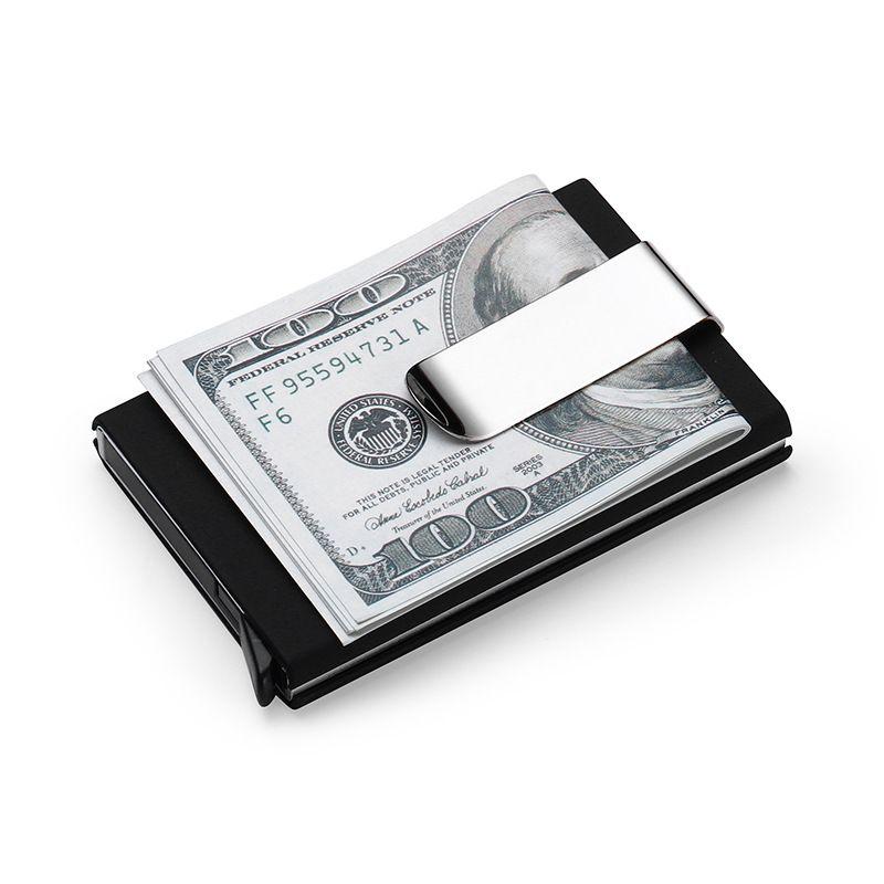 Haute QualitId homme Portefeuilles de Crédit porte-carte Automatique ensembles de cartes d'affaires porte-cartes en aluminium de caisse clip de fixation