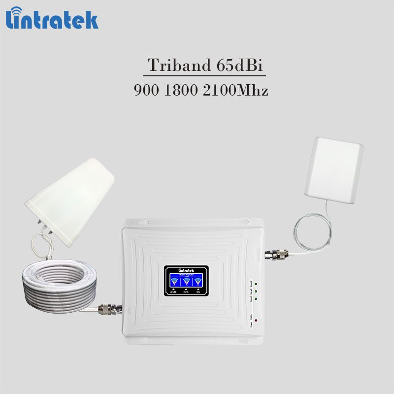 2018 new triband celular signal booster 900 1800 2100Mhz gsm mobile signal repeater 3g 4g lte cellphone amplifier 65dBi tele2 #7