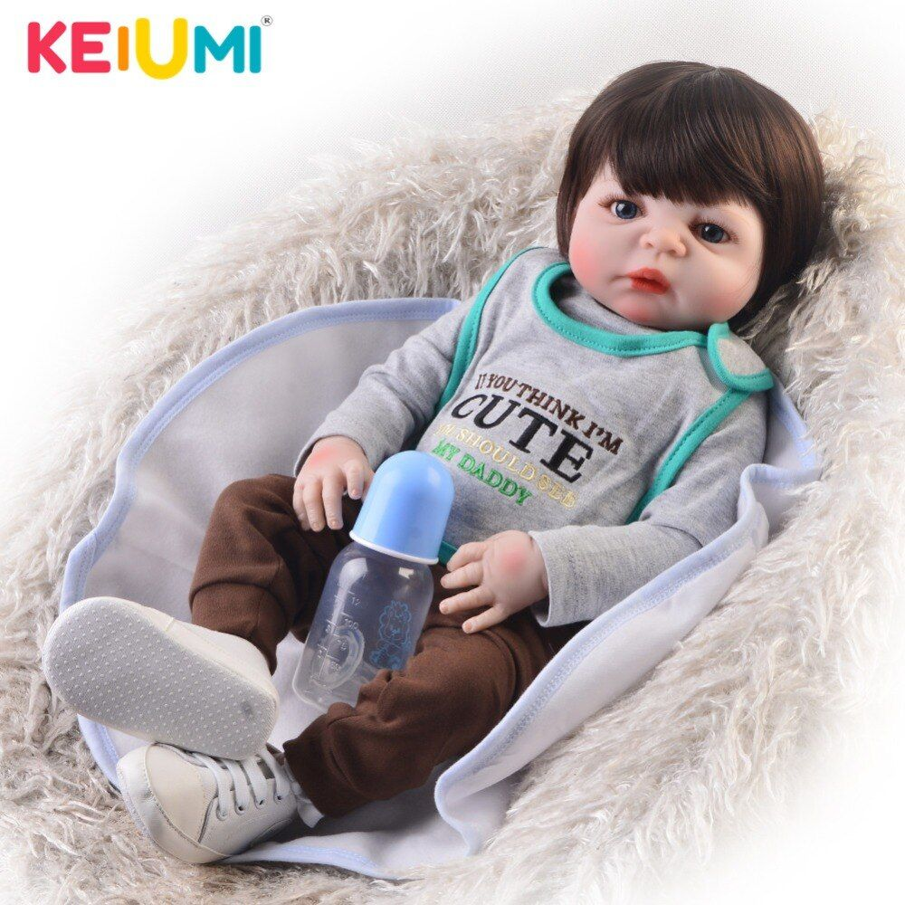 New Design 23 Inch Reborn Boy Alive Doll Full Silicone Body Wig Hair Realistic Newborn Babies Doll For Children's Day Xmas Gifts