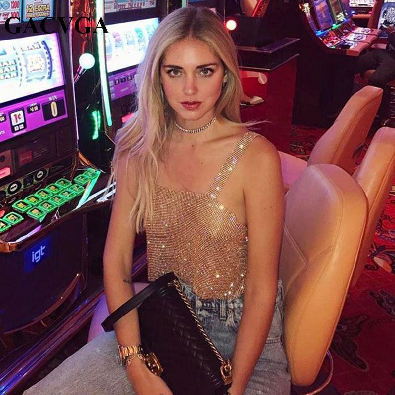 GACVGA 2019 Glitter Femmes Strass Parti Réservoir Tops D'été Plage Cristal Bustier Crop Top Sexy Diamants Discothèque T-Shirt Camisoles