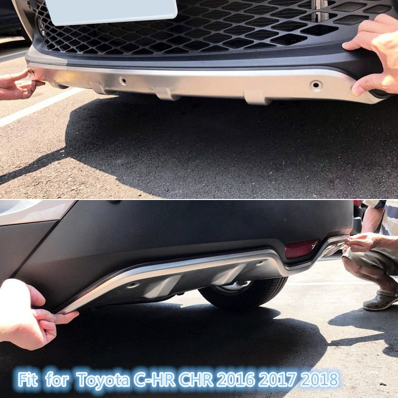 Stainless Steel Accessories  Exterior Front & Rear Skid Plate Bumper Board 2pcs  Fit  for  Toyota C-HR CHR 2016 2017 2018
